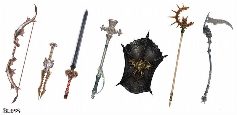 оружие и щиты bless
